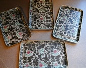 rose psttern serving tray set of 4 tea trays vintage serving tray floral print tray