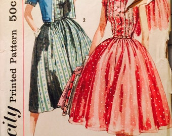 Simplicity 1988 Misses' One-Piece Dress and Jacket Pattern, UNCUT, Size 16, Vintage 1960's, Party Dress, Prom Dress, Wedding, Fashion