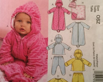 McCall's M5963,Size Newborn, Small, Med, Large,Infants' Lined Buntings and Jacket,Jumpsuits, Pants,Reversible Blanket and Hat Pattern,UNCUT,