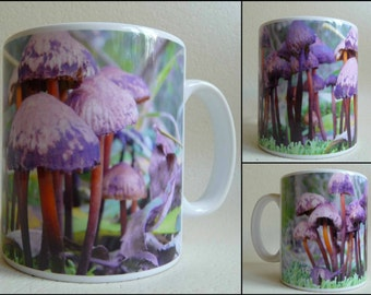 art print mug, printed image,nature scene,natural, woodlands, forest, woods, fungi,mushrooms, 11 oz, tea, coffee, cup,