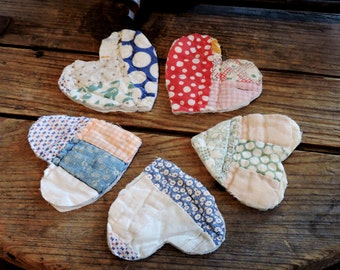 Old Patchwork Heart Appliques Shabby Prim Homespun Feedsack Embellishments Crafting Upcycled Vintage Cutter Quilt Patches itsyourcountry