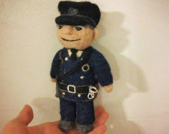 Police Officer Man - Art Doll - AdoraWools Needle Felted Dolls