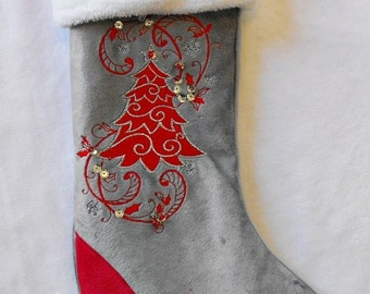 Holiday Christmas stocking silver grey and red embroidered Tree add custom name