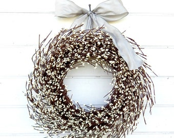 Winter Wreath-Christmas Wreath-Holiday Home Decor-GRAY & ANTIQUE WHITE Wreath-Wedding Decor-Scented Wreaths-Housewarming Gift-Wedding Decor