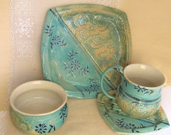 Square Pottery 4 Piece Place Setting, Handbuilt and Thrown Stoneware Coffee Mug, Plates, Bowl, Turquoise, Copper Green, Orange