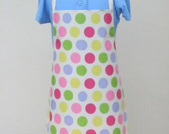 Child PVC Apron -Pastel Spotty Print, Oilcloth Apron, Toddler Apron, Waterproof Apron
