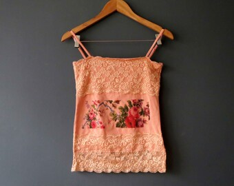 Floral Coral pink cami t shirt Repurposed Printed DTG Small
