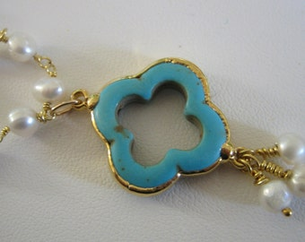 TURQUOISE QuatreFoil on a WHITE PEARL rosary necklace