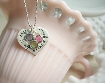 Birthstone Necklace Heart Personalized Grandma Mom Love is All Around Washer Sterling Silver Gift for Her