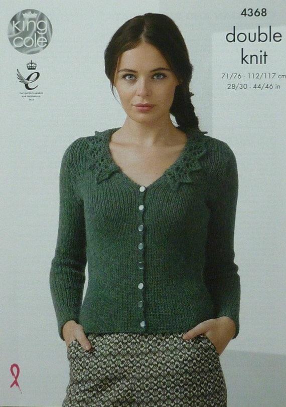Knitting Pattern Lace Collar : Womens Knitting Pattern K4368 Ladies Long Sleeve V-Neck Lace