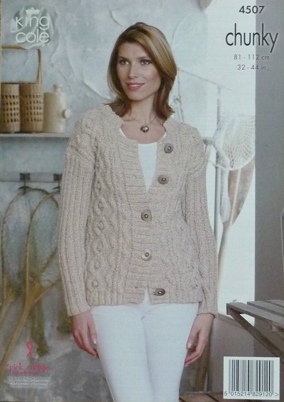 Chunky Cardigan Knitting Pattern : Womens knitting pattern k ladies long sleeve round
