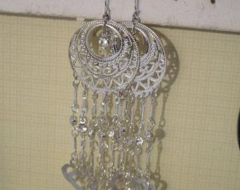 Silver Tone & Rhinestone Long Chandelier Earrings Hearts