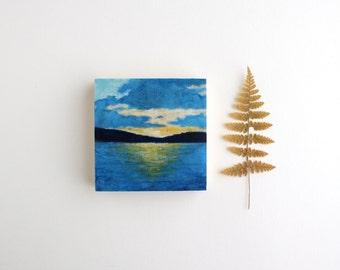 Adirondack Sunset Painting - 3 x 3