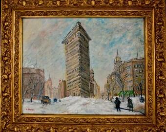 The Flatiron Building in Winter, Original Oil on Canvas