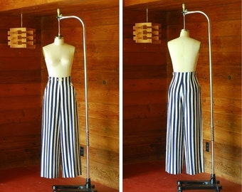 JULY SALE / vintage nautical blue and white striped silk wide leg trousers / size small