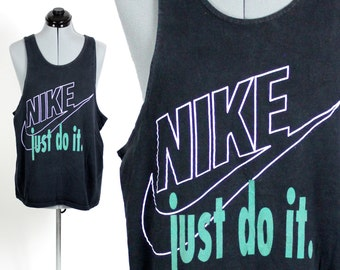 Vintage Retro Green Nike JUST DO IT Tank Top Large