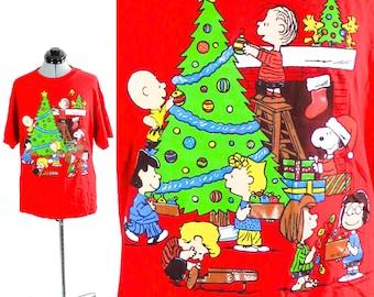 "Vintage Retro Peanuts Snoopy Tacky ""Ugly""  Christmas T shirt Large"