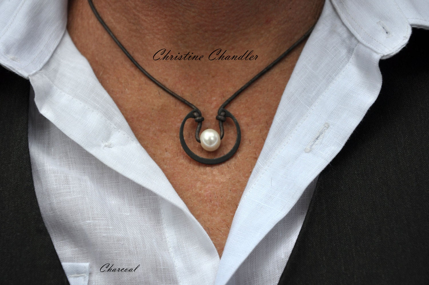 mens pearl jewelry mens leather necklace leather and pearls for unisex 1595