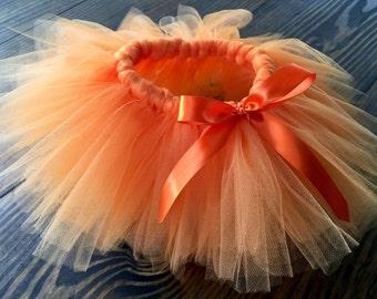 Orange tutu with a bow, tutu, Thanksgiving, fall, pumpkin, halloween, newborn tutu, tulle