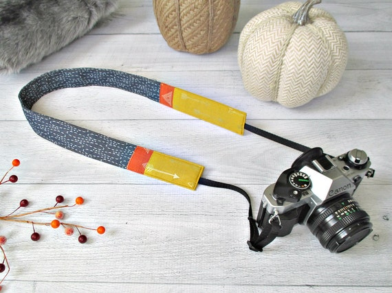 Denim DSLR Camera Strap | Indigo, Gold and Pumpkin Cross Body DSLR Strap