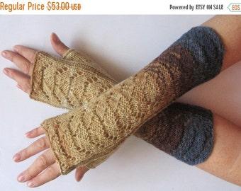Brown Fingerless Gloves Blue Beige Cream Long Mittens Arm Warmers, Acrylic Wool