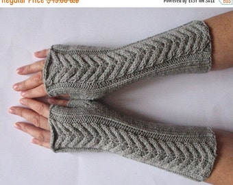 Fingerless Gloves Long Gray 10 inch Mittens Arm Warmers Acrylic