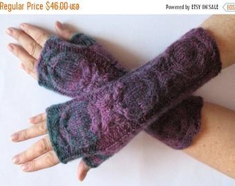 Fingerless Gloves Violet Purple Blue Burgundy Green wrist warmers