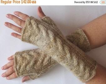 Fingerless Gloves Cream Beige Cappuccino wrist warmers