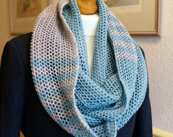 Scarf Infinity Cowl Lace Stripe Blue Silver Grey