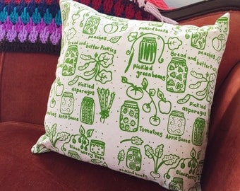 Pillow Cover - Canning - 16 x 16 Hand Printed Design