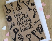 You Hold the Key to my Heart Valentines Day card. Vintage keys. Kraft and black card. Keys. Lockets. Heart Locket. Love Card.