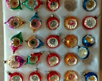 24 Vintage Feather Tree Small Indent Reflector Ornaments Mini Tabletop Tree Ornaments FREE SHIPPIING - order 3 or more Christmas  listings