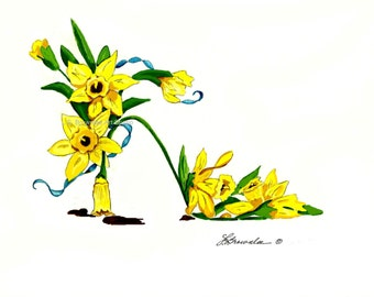 Fine Art Shoe Print - Daffodil Flower Shoe -  Ships Free - March Birthday Flower Shoe Enhanced with Watercolor Paint and signed