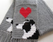 Border Collie Scarf. Grey crochet and knit scarf with border collie dogs and red hearts. Knit dog scarf