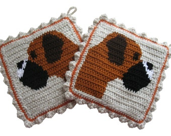 Boxer Dog Pot Holders. Thick. crochet potholders featuring fawn boxers