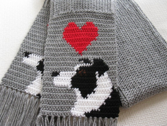 Knitting Pattern For Border Collie : Border Collie Scarf. Grey crochet and knit scarf with border