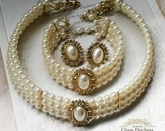 Bridal jewelry set, Bridal choker necklace earrings, Wedding choker, white Victorian pearl jewelry set, bridesmaid jewelry, choker set