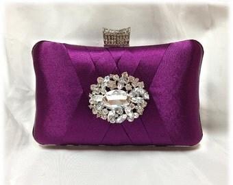 wedding clutch, Bridal clutch, Purple clutch, evening bag, Modern clutch, bridesmaid bag, crystal clutch, formal clutch, modern party clutch