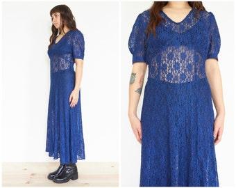90s Sheer Blue Floral Lace Dress