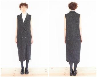 80s Sleeveless Black Boucle Coat / Tapered Double Breast Overcoat