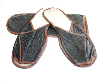 Antique Slippers Pigskin Leather with Case