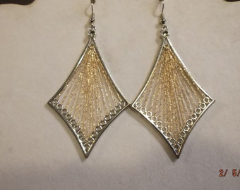 SALE Gold and Silver Metallic Diamond Thread Earrings Boho, Native, Hippie, Gypsy, Belly Dancer, Geometric Ready to Ship