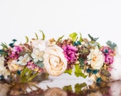 Fall Flower Crown - Autumn Rustic Halo - Flowergirl hairpiece - Wedding Crown - Newborn Photo Prop - Wedding Crown - Floral Hairpiece