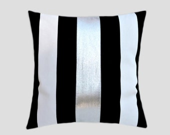 """Decorative Pillow Case, Cotton Black-White Throw pillow case with BRIGHT Silver fabric accent 1, 16"""" x 16"""",  Cushion case, Toss pillow case."""