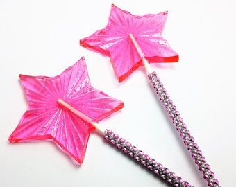 """12 LARGE RADIANT STAR Wands Lollipops on 6"""" Faux Rhinestone Stick - Wedding Bridal Shower Favors, Party Favors, Princess Party"""