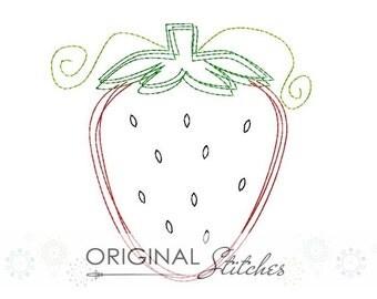 Quick Stitch Strawberry Embroidery Digital Design File 4x4 5x7 6x10