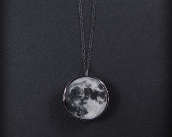 Full MOON - copper necklace, silver chain, BOHO pendant