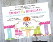 Pizza and Pajamas Invitation Printable Birthday party invite by Luv Bug Design