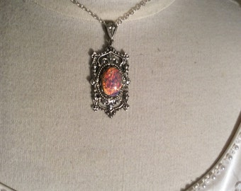 FIRE OPAL Necklace Harlequin glass Victorian Necklace Victorian jewelry bridal necklace bridal jewelry silver necklace bridal accessories