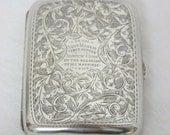 Antique SILVER Cigarette Case Inscription Sterling Hallmarked Birmingham 1903 Marriage 1906 WW1 Scotland